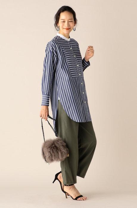 クレリックチュニックシャツ / 裾ドロストベイカーパンツ
