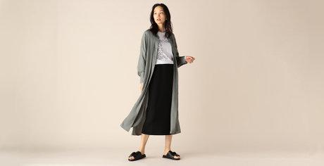 ライトサテンロングシャツワンピース / ペルーコットンロゴロンT / ダンボールロングタイトスカート