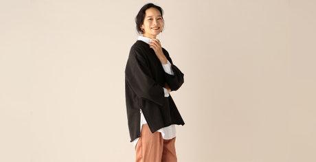 裏毛サイドジッププルオーバー / ボリュームロングシャツ / シアーサテンタックイージーパンツ